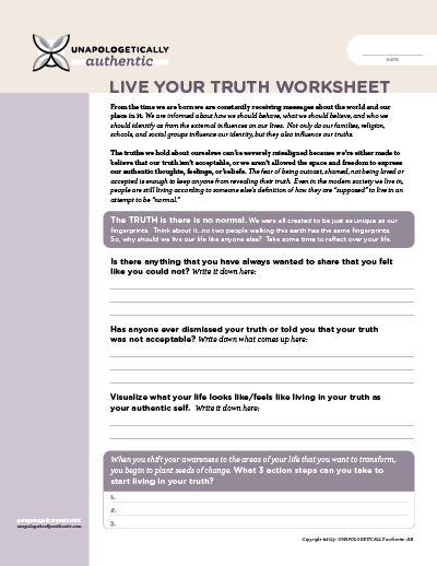 Live Your Truth Worksheet