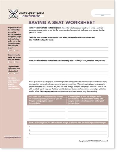 Saving a Seat Worksheet
