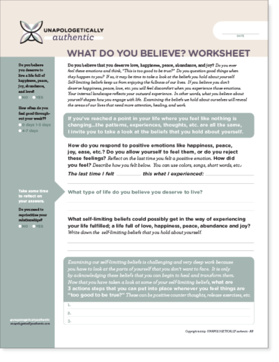 What Do You Believe? Worksheet